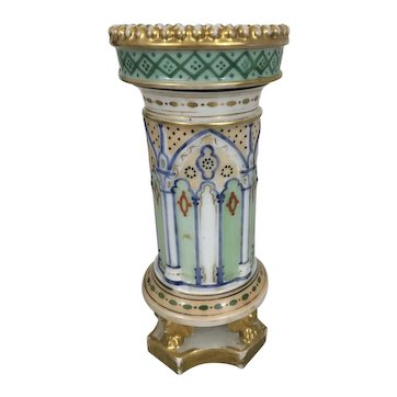 Antique French Sevres Style Old Paris Porcelain Buttressed Gilt Spill Vase France Empire