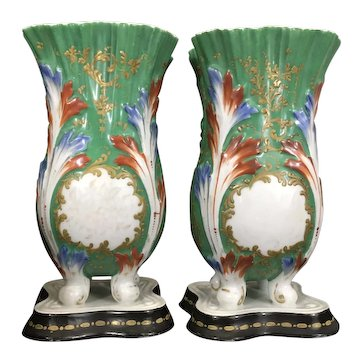 Pair 19th C Old Paris Porcelain Spill Vases Urns Raised Acanthus Leaves Footed On Base