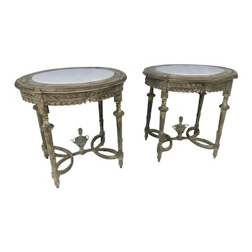 Pr Antique French Louis XVI Style Carved Painted Wood & Marble Top Oval Side Gueridon Tables