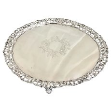 Antique 1765 Georgian Sterling Silver Footed Salver Tray Pierced Floral Edges London