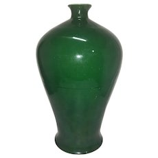 Fine Old Large Kangxi Marked Chinese Export Apple Green Porcelain Meiping Vase