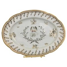 Chamberlain Worcester English Georgian Porcelain Armorial Platter Tray W Eagle & Initials