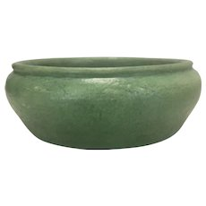 Grueby Pottery Arts & Crafts Mission Prairie Style Low Bowl Pot Curdled Matte Green Glaze