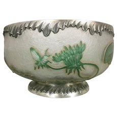 Antique French Daum Nancy Cameo Dandelion Glass Bowl W Sterling Silver Mounts France