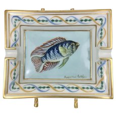 Large Hermes French Porcelain Ashtray W Hand Painted Fish France Aequidens Latifrons Blue Acara