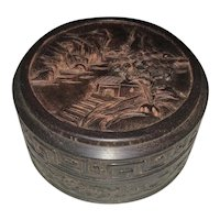 Fine Old Chinese Export Zitan Hardwood Carved Round Box Scholar Pine Tree Mountain Home