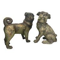 Pair Austrian Goldscheider Terra Cotta Pug Dog s Terracotta Pottery Life-size Glass Eyes