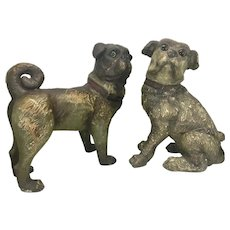 Pair Austrian Goldscheider Terra Cotta Pug Dog s Terracotta Pottery Life-size Glass Eyes