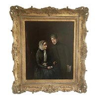 19th C Oil Canvas Painting German Revolution War 1848 Couple W Gilt Wood Frame 1853 PEACE