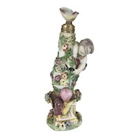 Rare 18th C English Chelsea Charles Gouyn Mini Porcelain Perfume Scent Bottle Cupid Cherub Bird Floral