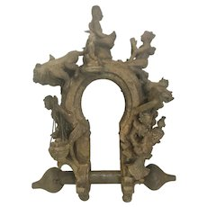 Large Antique Asian Chinese Cast Iron Temple Ornament Relic Lock