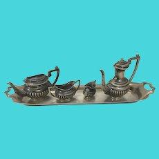 Vintage Miniature Sterling Silver Tea Set Service W Tray PH Vogel & CO London England