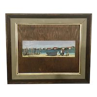 Bonnie Whittingham Oil Painting On Board Framed Provincetown MA Mid Century Modern Harbor Seascape