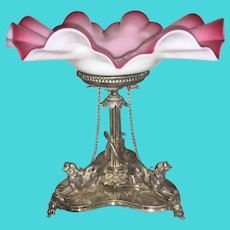 Victorian Silver Plate Silverplate Centerpiece W Ruffled Opaline Brides Basket Glass Top Chained Dogs Epergne