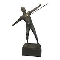 Carl Maria Schwerdtner (1874 - 1916) Cubist Bronze Javelin Thrower Male Nude Marble Vase Vienna Austria