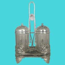 Antique Wilcox Quadruple Silver Plate Double Glass Pickle Castor Jar Footed Winged Cherubs & Deer