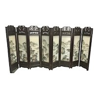 Vintage Chinese Hardwood Screen W Painted Stone Marble Panels Plaques Landscapes Export Tabletop