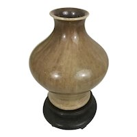 Small Antique Chinese Export Porcelain Brown Flambe Cabinet Vase W Wood Stand