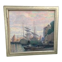 "Nicola D' Ascenzo ""The Cove"" Sunset In Venice Original Oil Canvas Painting (1871-1954) WPA 1940 Framed"