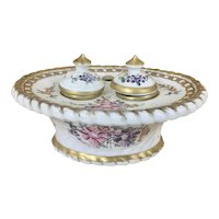 French Samson Porcelain Oval Inkstand W Double Inkwells Gilt Trim Hand Painted Flowers France