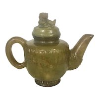 Vintage Chinese Amber Brown Hard Stone Jade Jadeite Hardstone Carved Teapot W Foo Dog Finial Archaic Designs