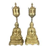 Art Deco Period Metal Mica Shades Buddha Lotus Throne Boudoir Lamps Hollywood Regency