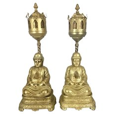Art Deco Period Metal Mica Shades Buddha Lotus Throne Boudoir Lamps Hollywood Regency