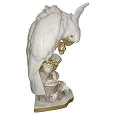 Hutschenreuther Porcelain Cockatoo Figurine Bird Parrot W Gold Trim Germany Lorenz L Foucar