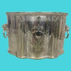 Victorian Silver Plate Tea Caddy Biscuit Box Lion Handles George Richmond Collis C 1840 Silver-Plate