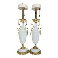 Pr Vintage Hollywood Regency French Opaline Opalescent Milk Glass Lamps W Gilt Bronze Ormolu