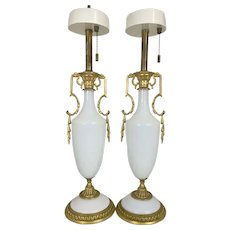 Pr Vintage Hollywood Regency French Opaline Opalescent Milk Glass Lamps W Gilt Bronze Ormolu