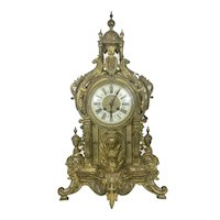 19th C Ornate French Bronze Gilt Mantle Clock Rococo Revival Period Masks Cupola