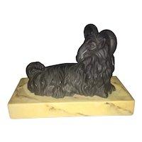 Vintage Mottahedeh Basalt Porcelain Figural Recumbent Ram Goat Paperweight