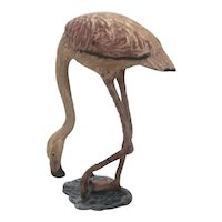 Fritz Bermann Austria Cold Painted Bronze Pink Flamingo Shore Bird Figure Mini Statue Austrian