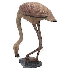 Fritz Bermann Austria Cold Painted Bronze Pink Flamingo Shore Bird Figure Mini Statue Austrian