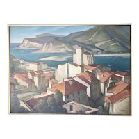 Rolf Stoll Original Oil On Canvas Painting Spain Seaside Village WPA Artist Framed Landscape 1930's