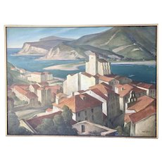 Rolf Stoll Original Oil On Canvas Painting Spain Seaside Village WPA Artist Framed Landscape 1930's