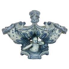 19th C Ulisse Cantagalli Italian Tin Glazed Faience Pottery HUGE Centerpiece Fruit Bowl Cherubs Dolphins