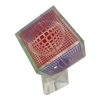 Vintage 1970's Victor Vasarely Lucite Acrylic Cube Sculpture W Stand 107/200 Signed Pop Art