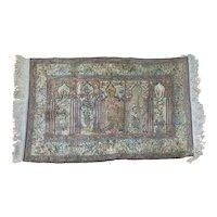 "Vintage Turkish Silk Prayer Rug Carpet Ottoman 49"" x 36"" Tiger Deer Giraffe Foliage Arches"