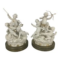 Pair Antique Capodimonte Continental Porcelain Cherub Group Gilt Blanc De Chine Sculptures