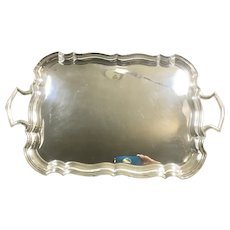 Edward Viner Cheltenham Sheffield Sterling Silver Tray Scalloped Handles