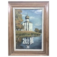 Antique Oil Painting On Board European Russian Orthodox Temple Church W Onion Dome Landscape Framed