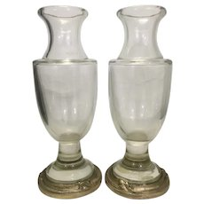 Pair Antique Czech Glass Crystal Vase W Bronze Ormolu Base Mounts Czechoslovakia