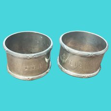 Pair Meriden Sterling Silver Napkin Ring Holders Monogrammed