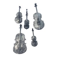 5 Pc Antique Silver Miniature Violin Fiddle German Hanau Dutch 800 Match Safe Vesta Repousse