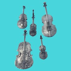 5 Pc Antique Silver Miniature Violin Fiddle German Hanau Dutch 800 Match Safe Vesta Repousse