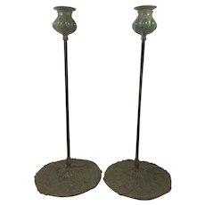 Pr Tall Art Nouveau Riviere Verdigris Bronze Queen Anne's Lace Candle Stick Holder W Green Favrile Slag Glass