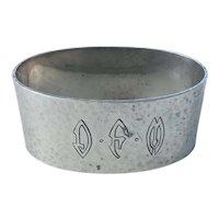 Antique Arts & Crafts Shreve & Co. Sterling Silver Hammered Oval Napkin Ring