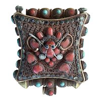 Vintage Jeweled Tibetan Asian Buddhist Silver Metal Prayer Box Gao Amulet W Turquoise Coral Filagree